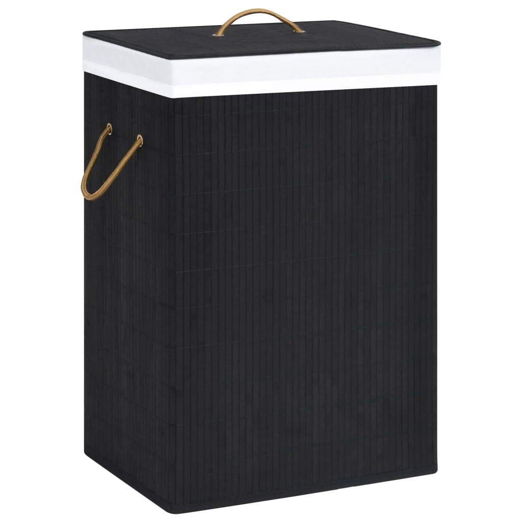 vidaXL Coș de rufe din bambus, negru, 72 L imagine vidaxl.ro