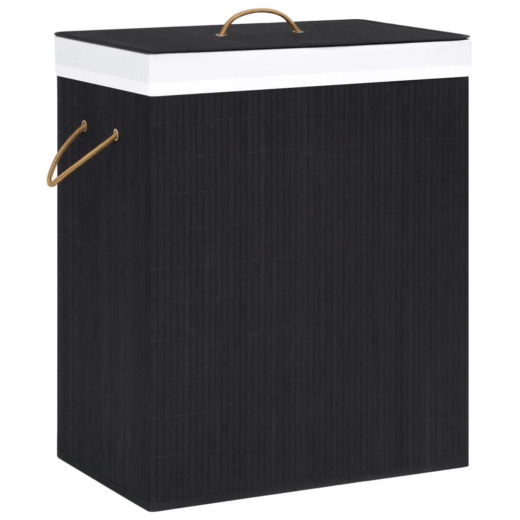 vidaXL Coș de rufe din bambus, negru, 100 L imagine vidaxl.ro