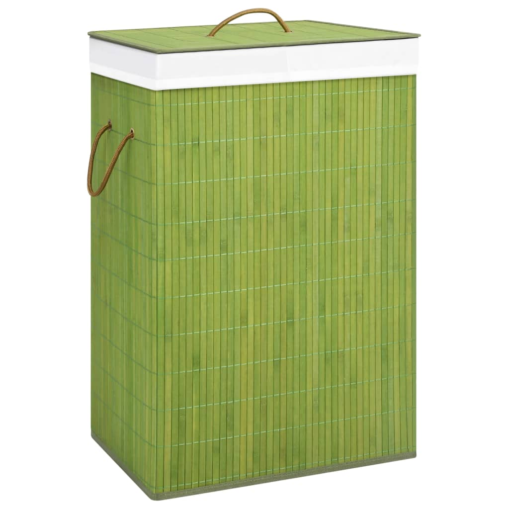 Bambusest pesukorv, roheline, 72 l