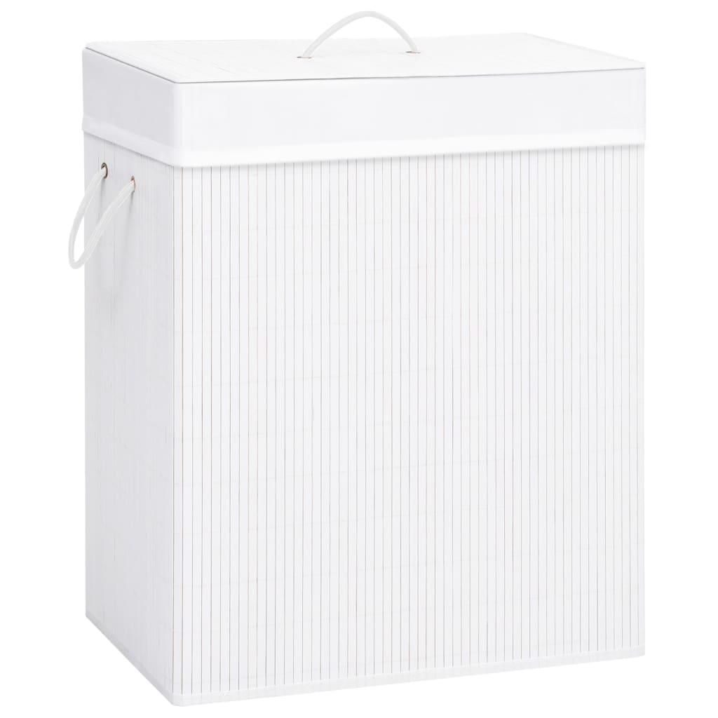 vidaXL Coș de rufe din bambus, alb, 83 L imagine vidaxl.ro