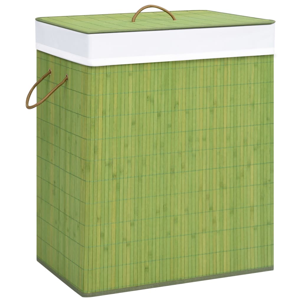 vidaXL Coș de rufe din bambus, verde, 83 L imagine vidaxl.ro