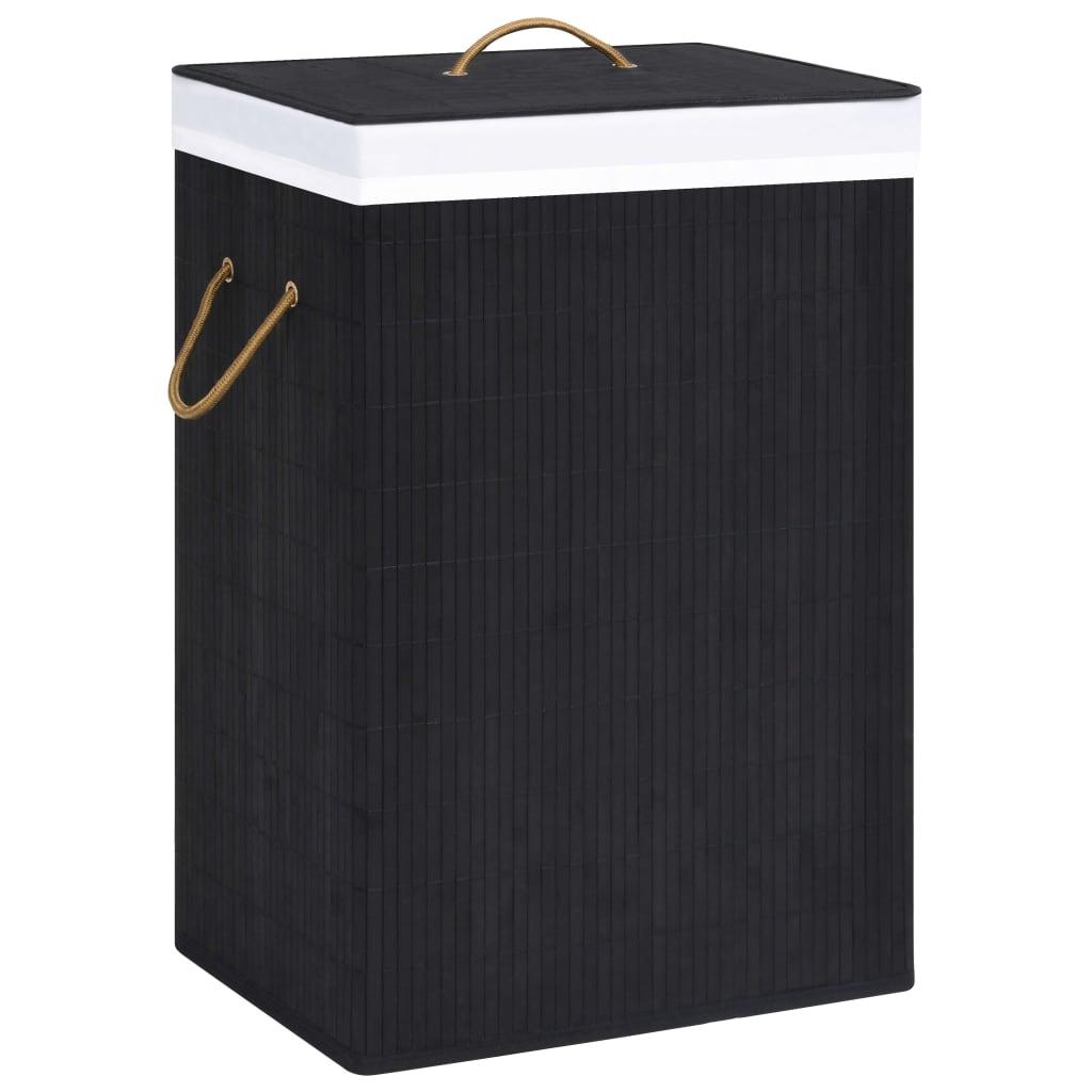 vidaXL Coș de rufe din bambus, negru imagine vidaxl.ro