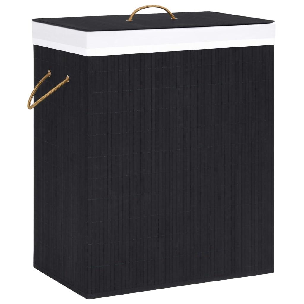 vidaXL Coș de rufe din bambus, negru, 83 L imagine vidaxl.ro
