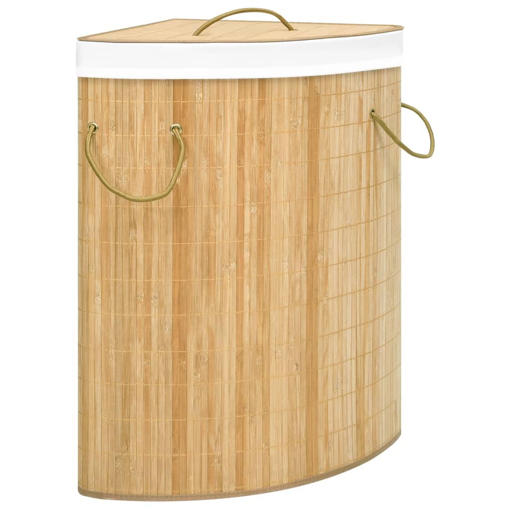 vidaXL Coș de rufe din bambus de colț, 60 L imagine vidaxl.ro