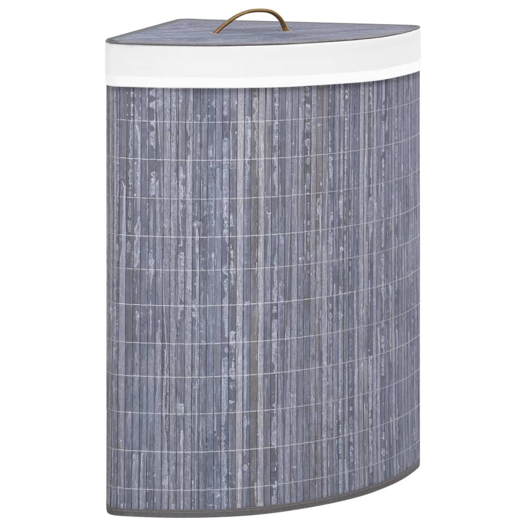 vidaXL Coș de rufe din bambus, pentru colț, gri, 60 L poza 2021 vidaXL