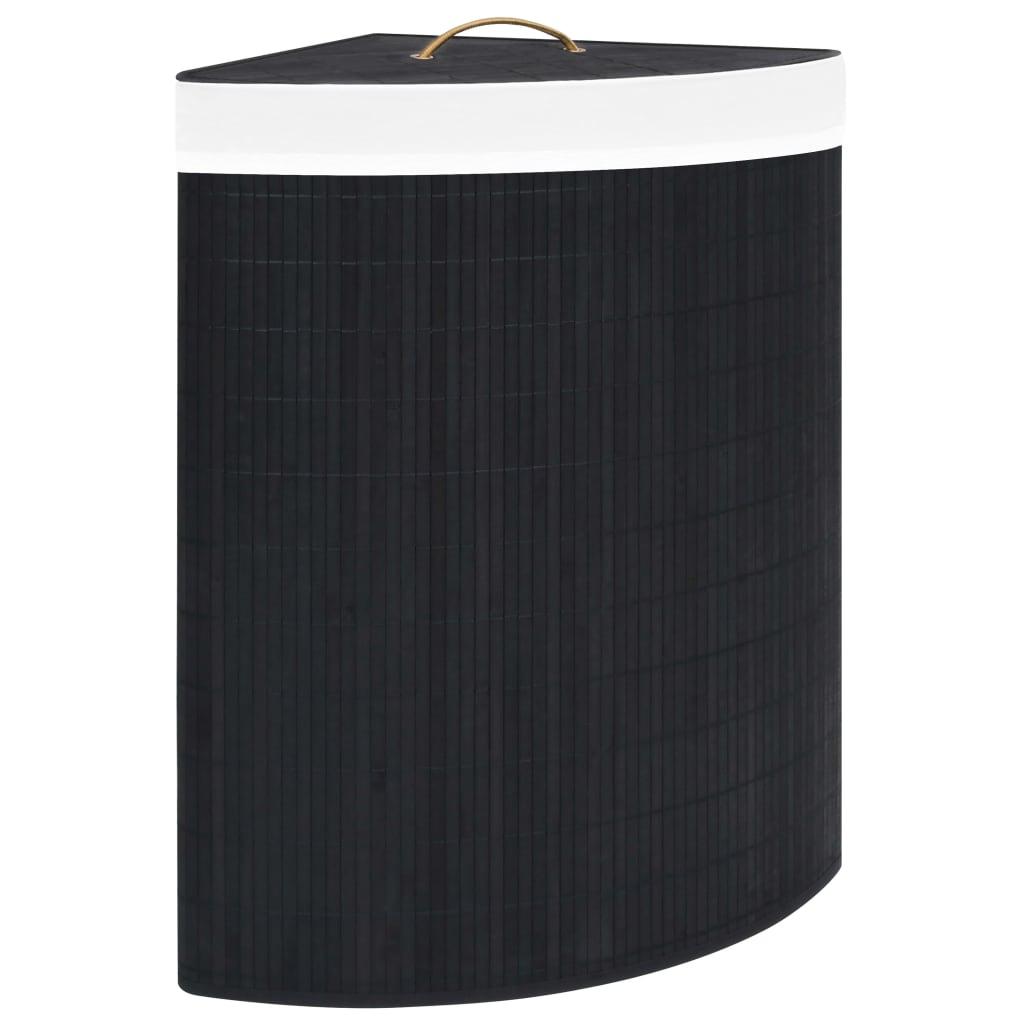 vidaXL Coș de rufe din bambus de colț, negru, 60 L imagine vidaxl.ro
