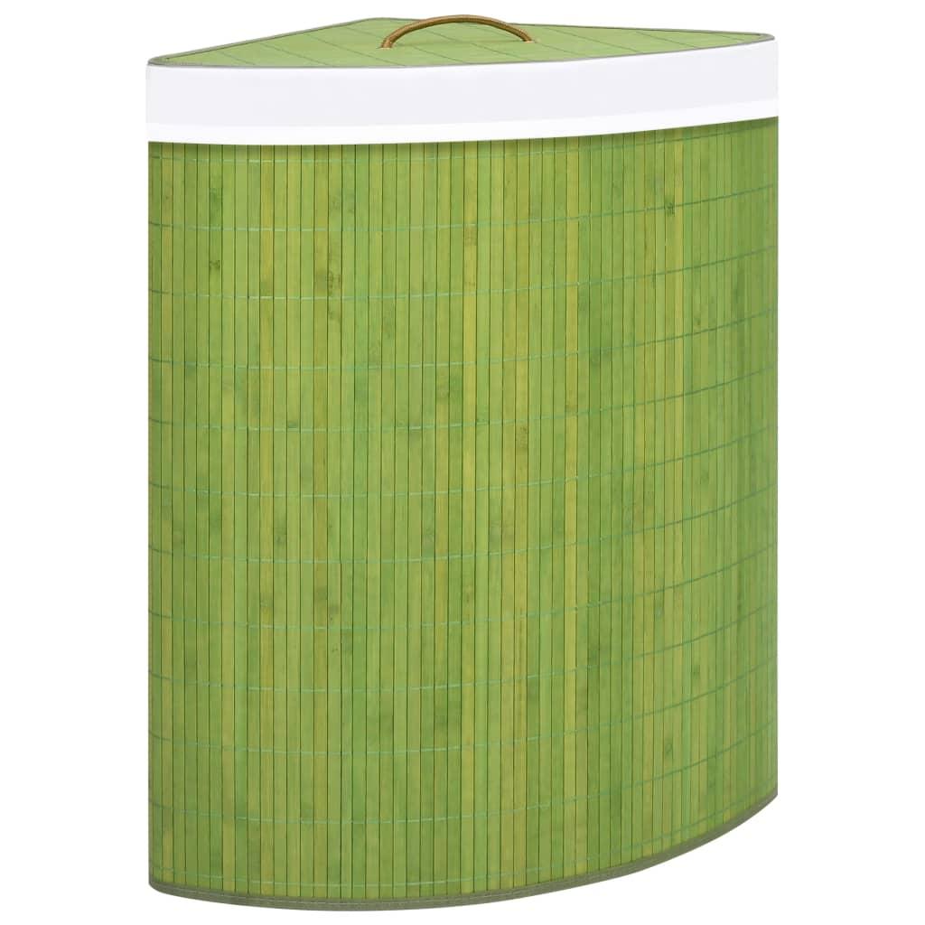 vidaXL Coș de rufe din bambus, pentru colț, verde, 60 L imagine vidaxl.ro