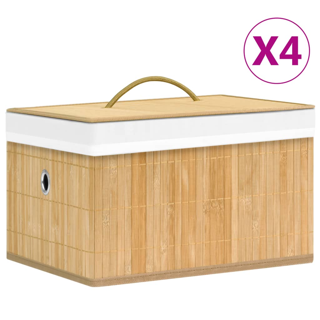 vidaXL Cutii de depozitare, 4 buc., bambus vidaxl.ro