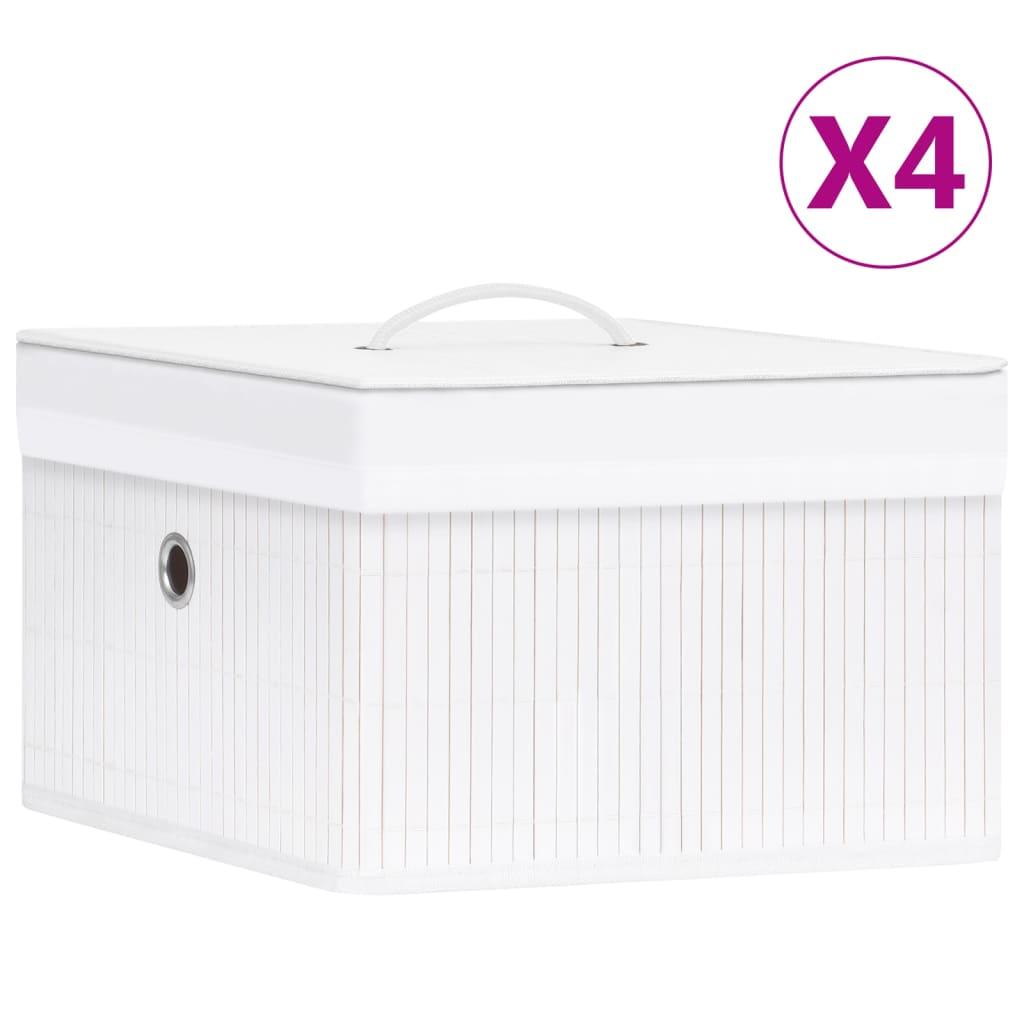 vidaXL Cutii de depozitare, 4 buc., alb, bambus poza 2021 vidaXL