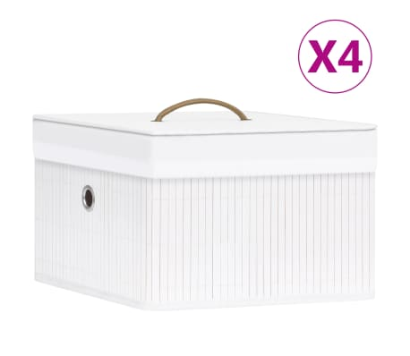 vidaXL Bambusové úložné boxy 4 ks bílé