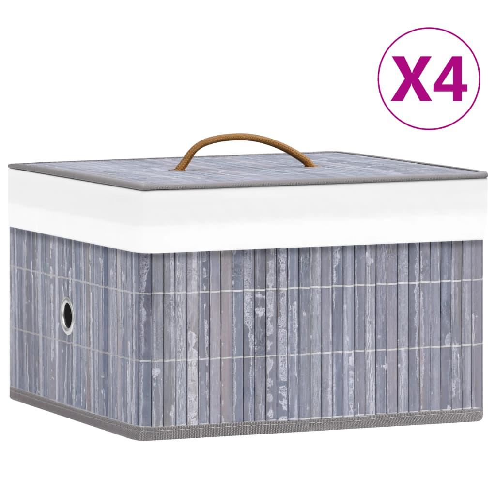 vidaXL Cutii de depozitare, 4 buc., gri, bambus vidaxl.ro