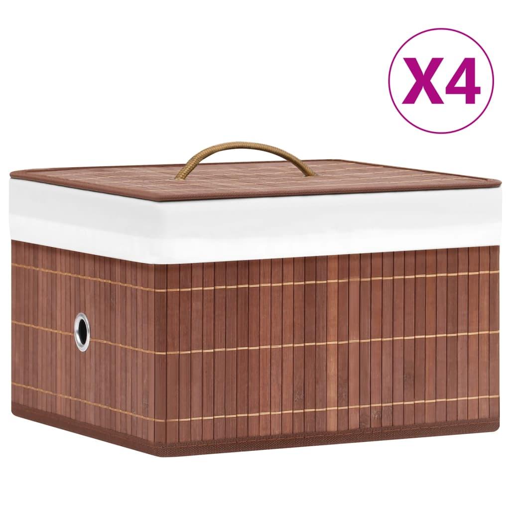 vidaXL Cutii de depozitare, 4 buc., maro, bambus vidaxl.ro