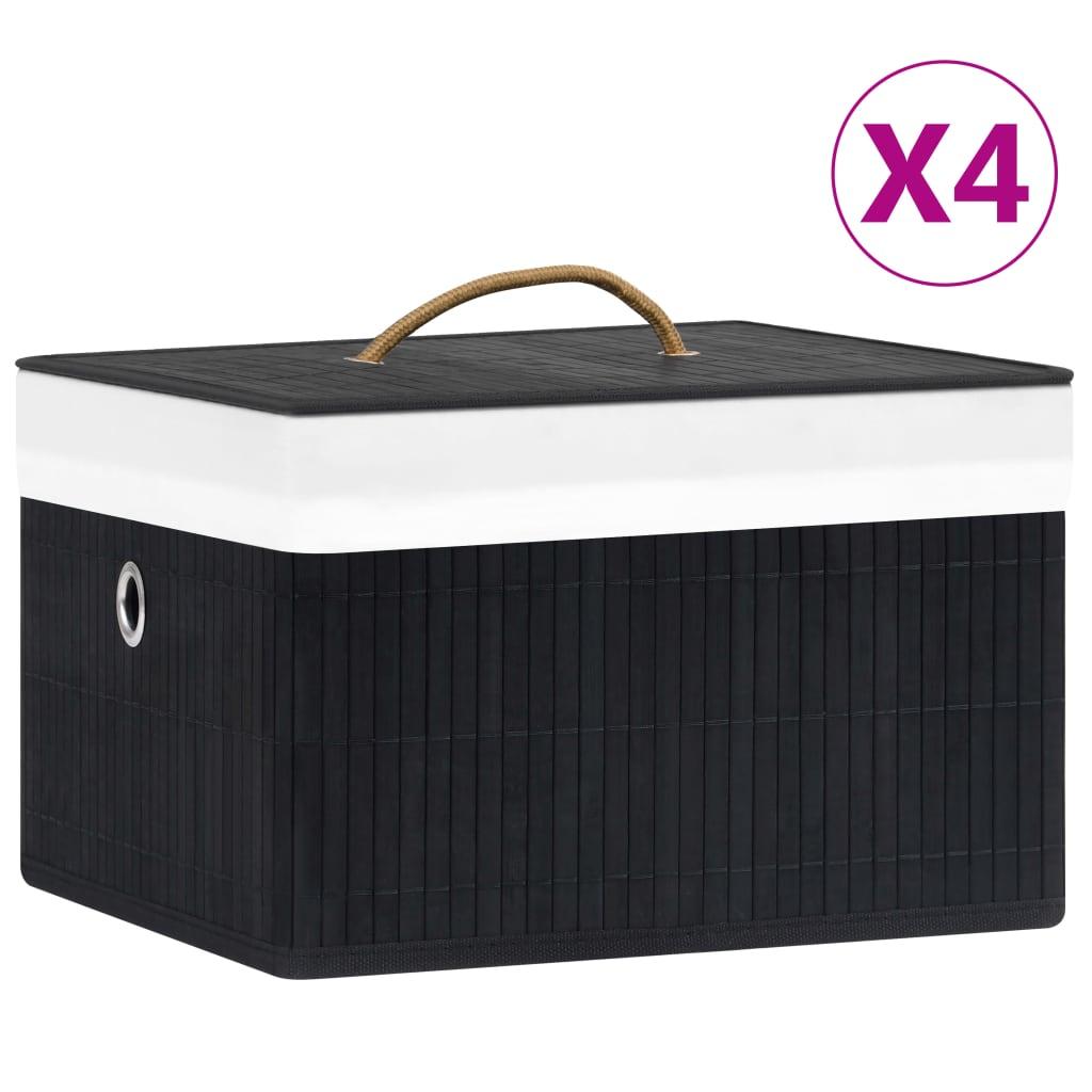 vidaXL Cutii de depozitare, 4 buc., negru, bambus poza 2021 vidaXL