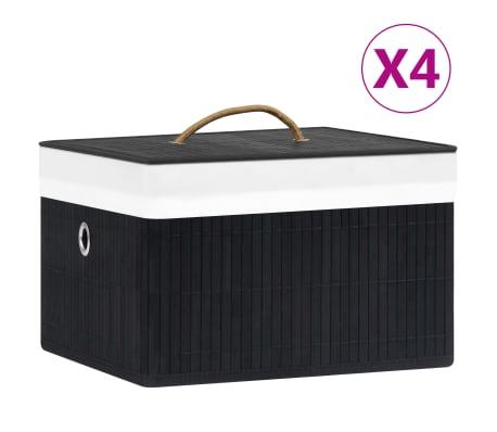 vidaXL Bambusové úložné boxy 4 ks černé