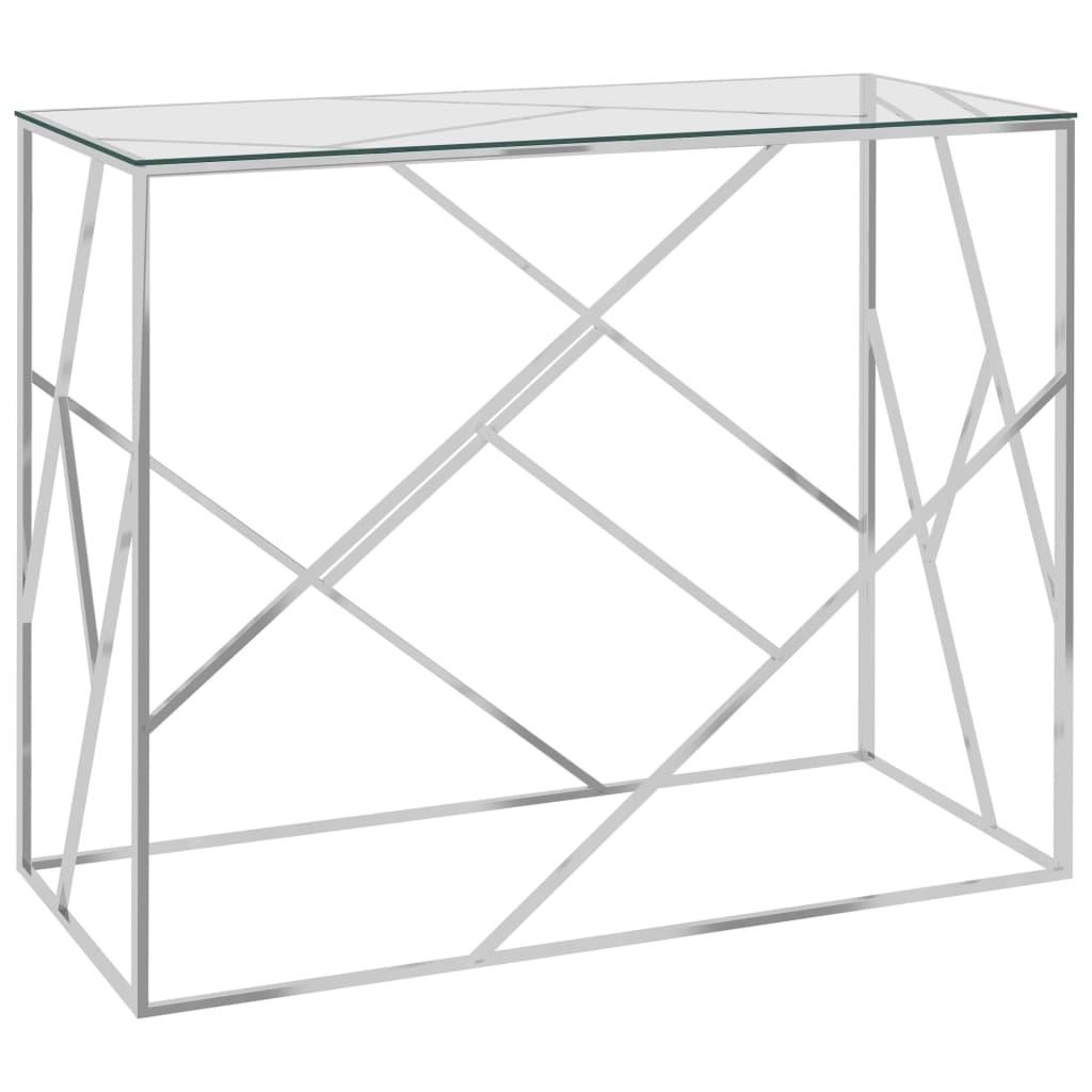 vidaXL Masă laterală, argintiu, 90x40x75 cm, oțel inoxidabil & sticlă vidaxl.ro