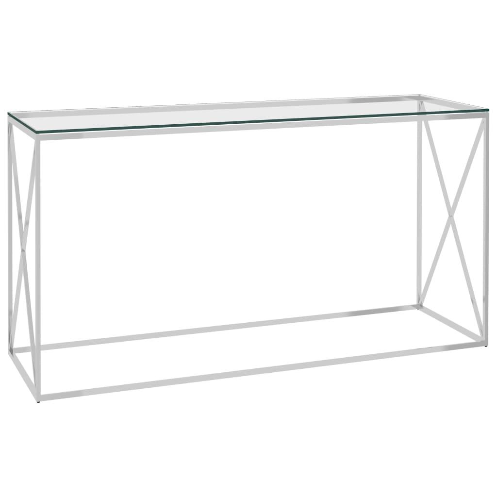 vidaXL Bijzettafel 140x40x78 cm roestvrij staal en glas zilverkleurig