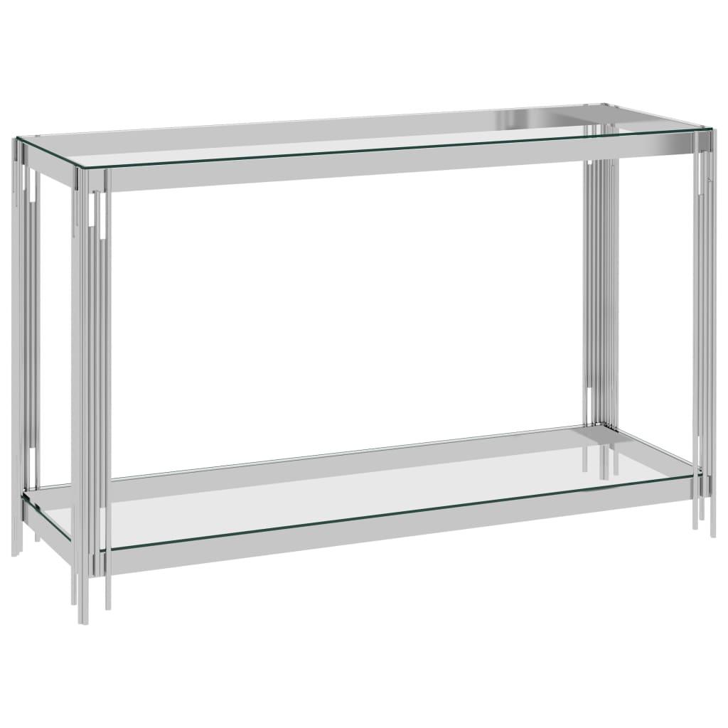 vidaXL Masă laterală, argintiu, 120x40x78 cm, oțel inoxidabil & sticlă poza 2021 vidaXL