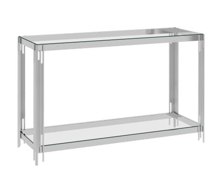 vidaXL Bijzettafel 120x40x78 cm roestvrij staal en glas zilverkleurig