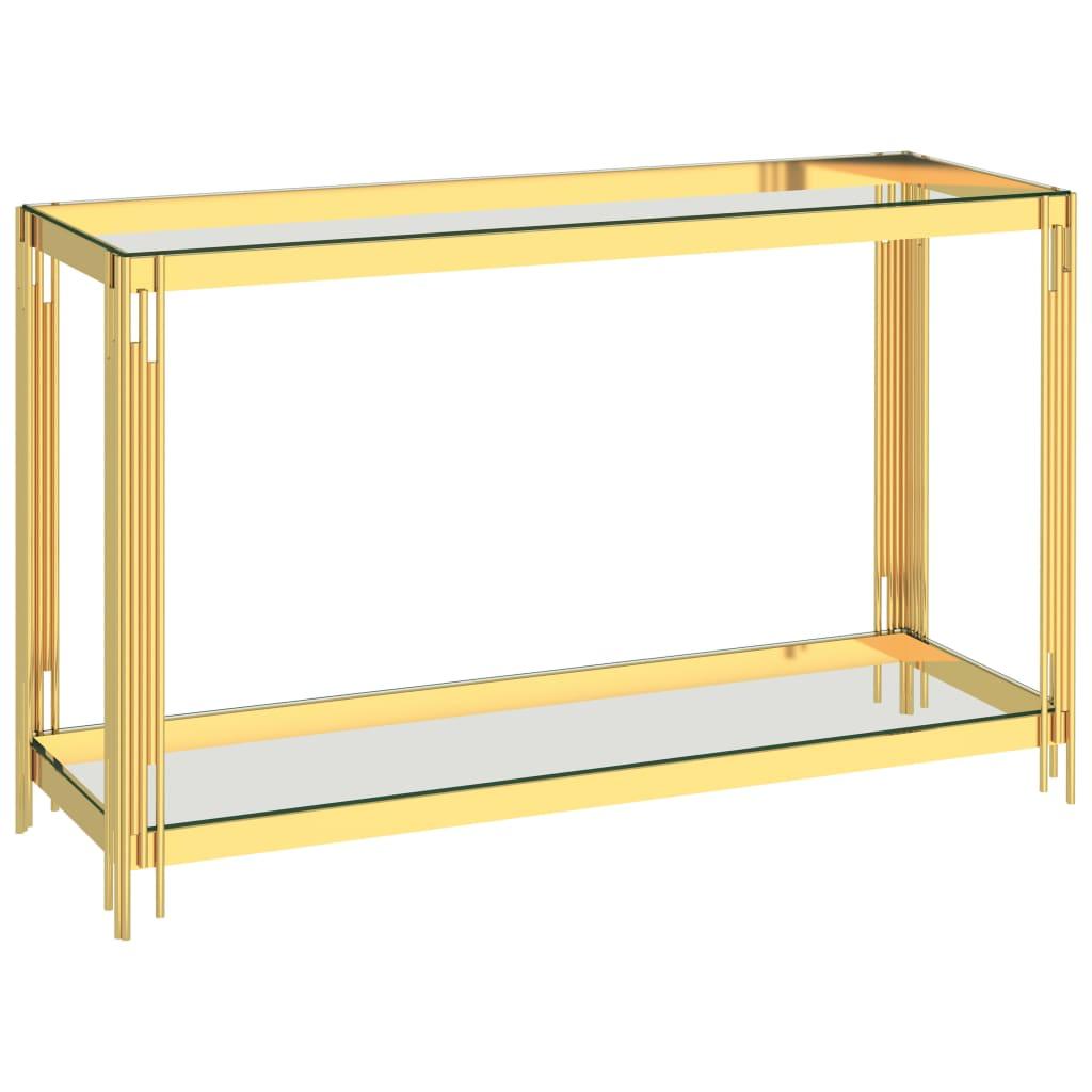 vidaXL Masă laterală auriu, 120 x 40 x 78 cm, oțel inoxidabil & sticlă vidaxl.ro