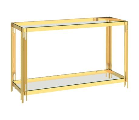 vidaXL Bijzettafel 120x40x78 cm roestvrij staal en glas goudkleurig