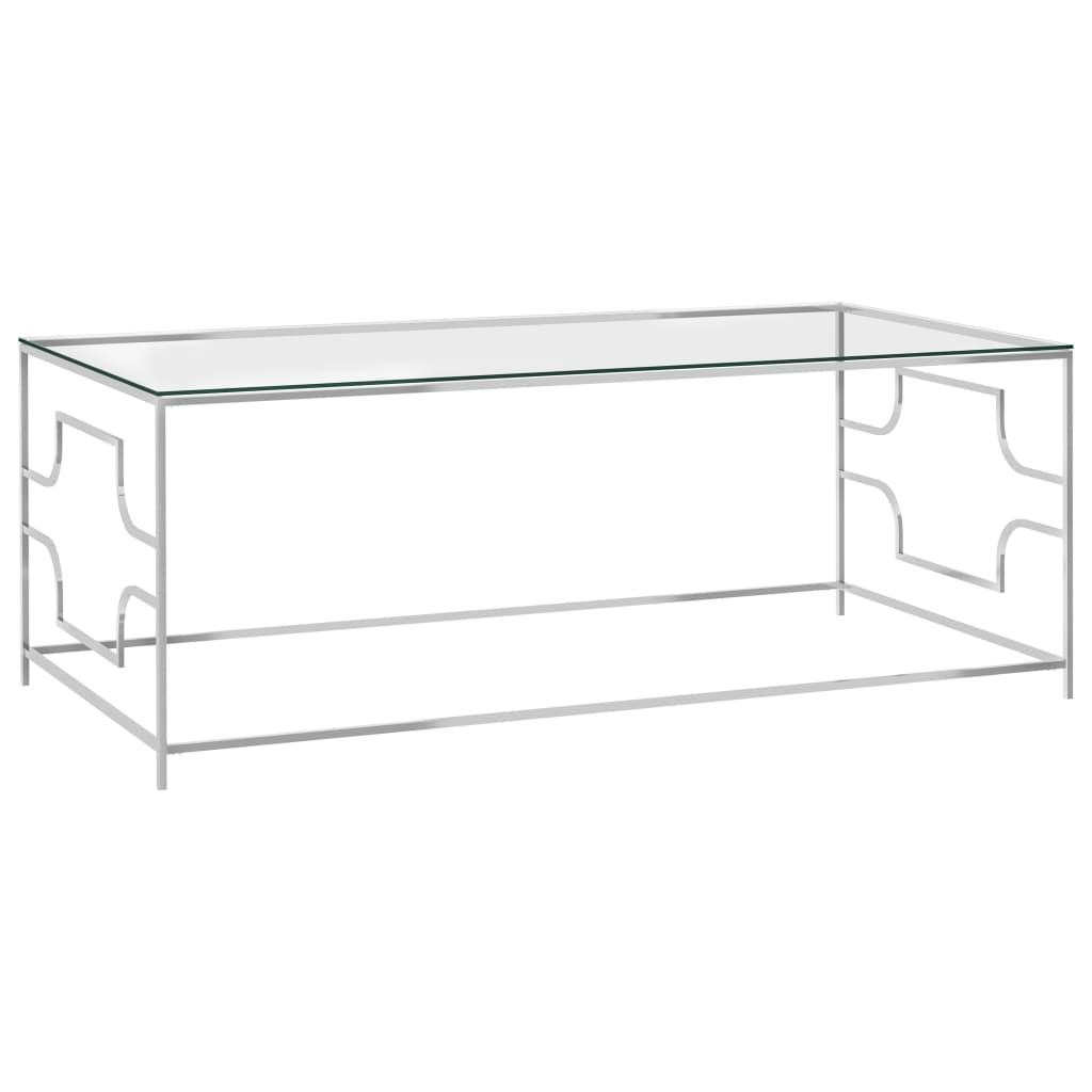 vidaXL Salontafel 120x60x45 cm roestvrij staal en glas zilverkleurig