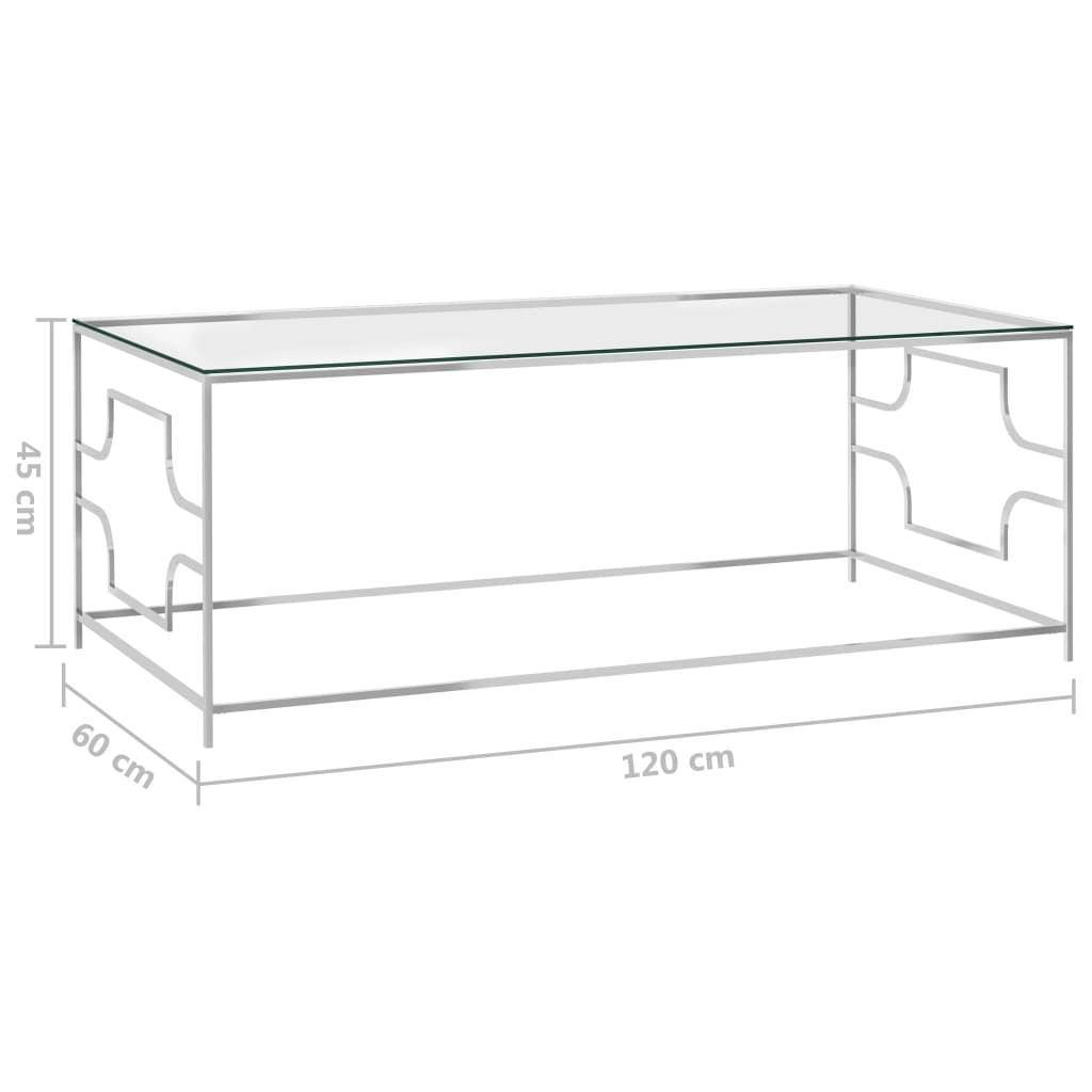Salontafel 120x60x45 cm roestvrij staal en glas zilverkleurig