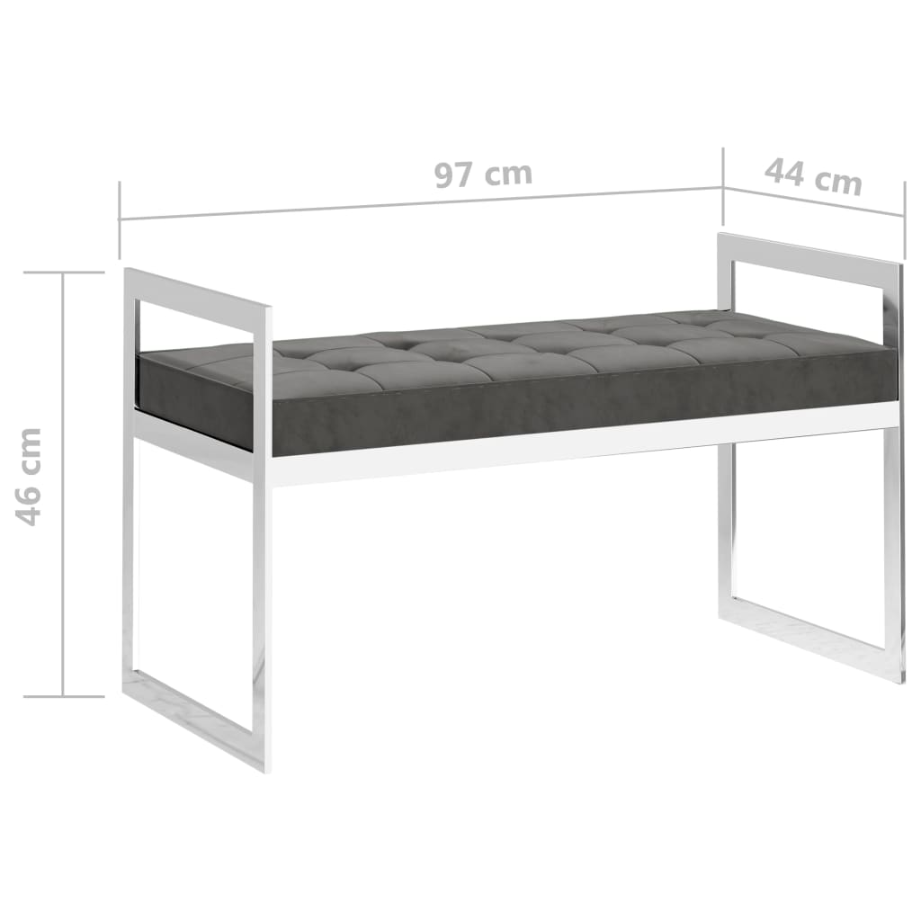 Bankje 97 cm fluweel en roestvrij staal grijs