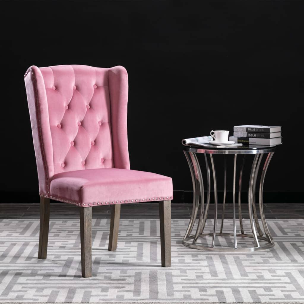 vidaXL Krzesło stołowe, różowe, obite aksamitem