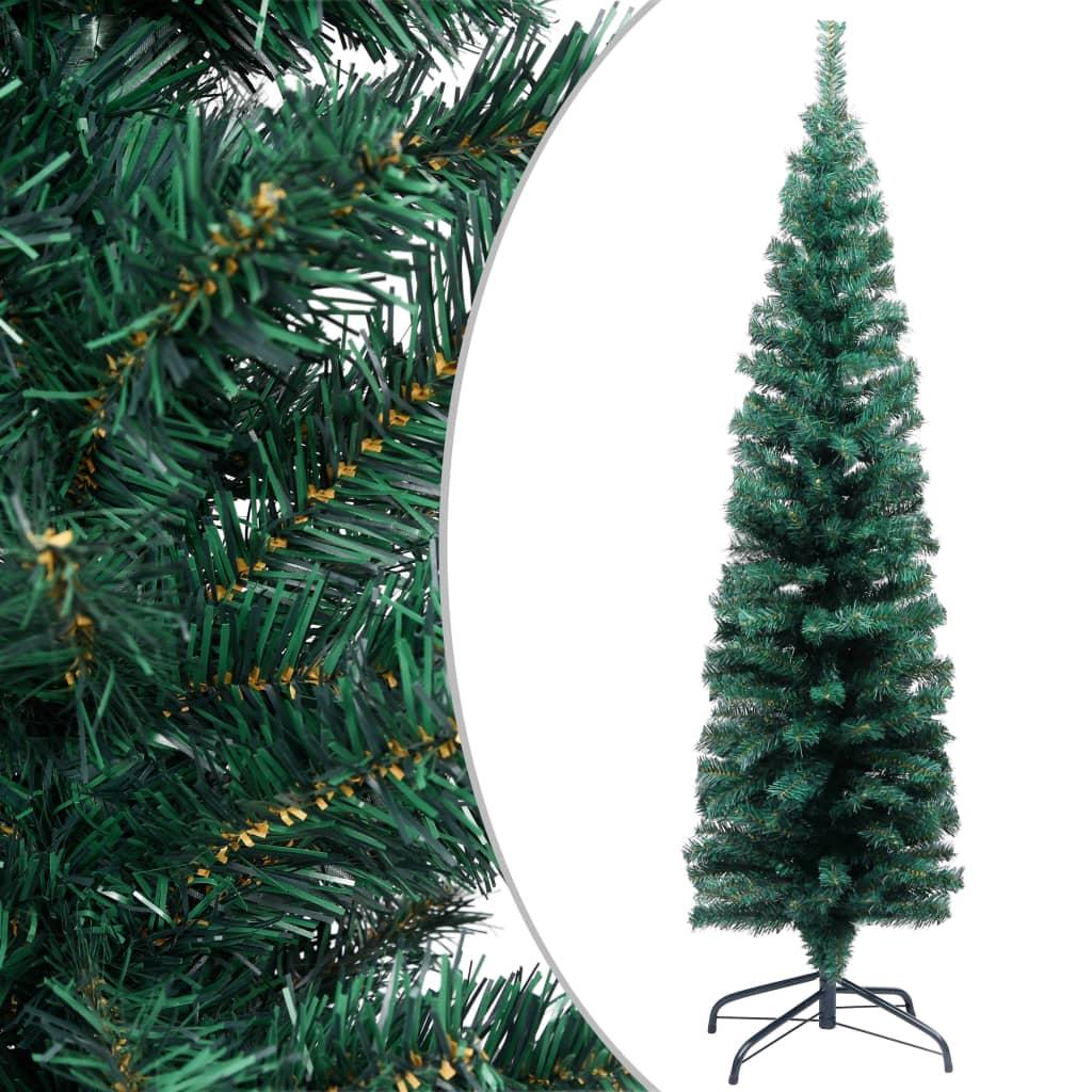 vidaXL Smukła sztuczna choinka ze stojakiem, zielona, 150 cm, PVC