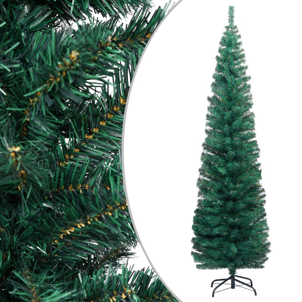 vidaXL Pom de Crăciun artificial subțire cu suport verde 210 cm PVC imagine vidaxl.ro