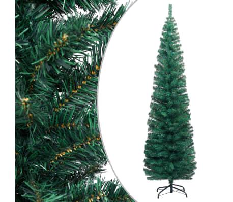 vidaXL Sapin de Noël artificiel mince avec support Vert 210 cm PVC