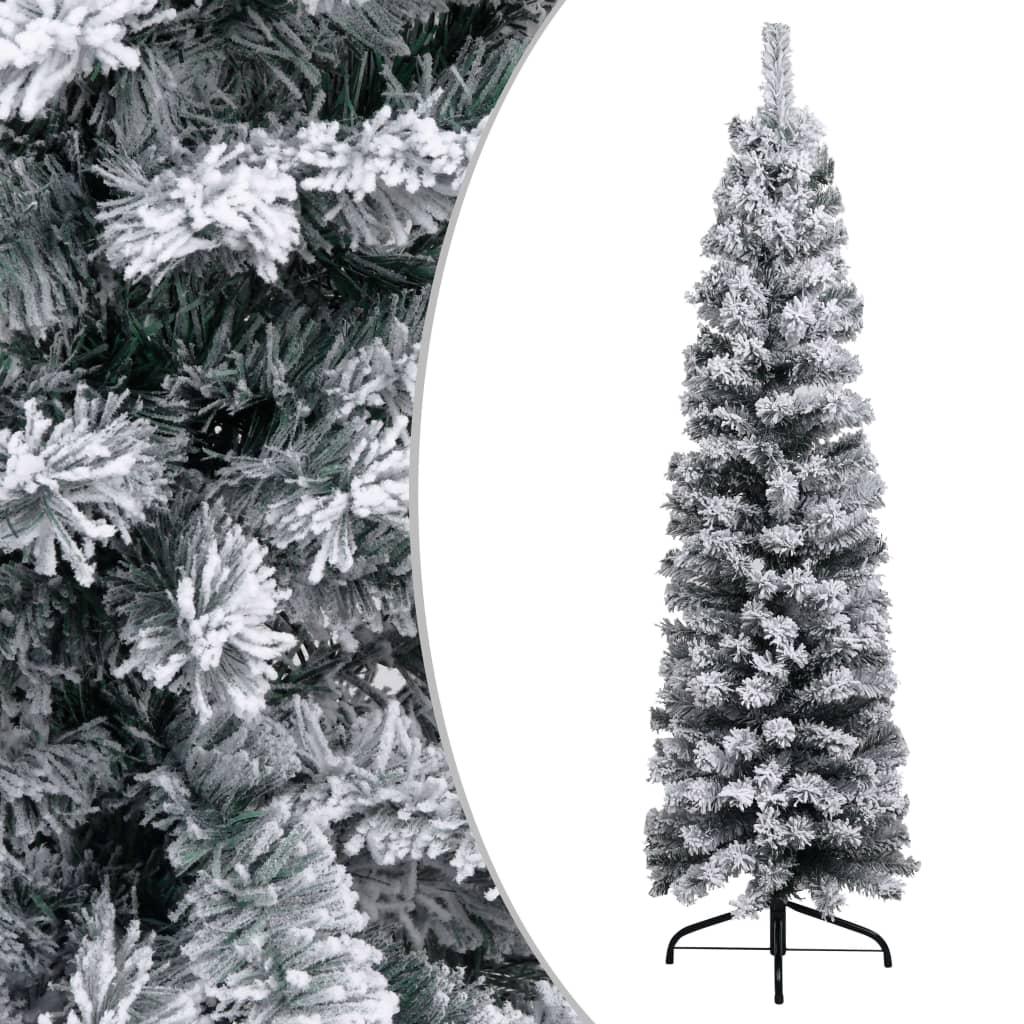 vidaXL Pom de Crăciun artificial subțire cu zăpadă, verde 150 cm, PVC vidaxl.ro