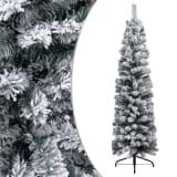 vidaXL Kunstkerstboom met sneeuwvlokken smal 150 cm PVC groen