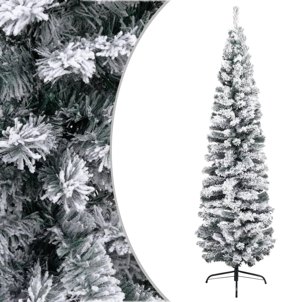 99320956 Schlanker Künstlicher Weihnachtsbaum Beschneit Grün 240 cm PVC
