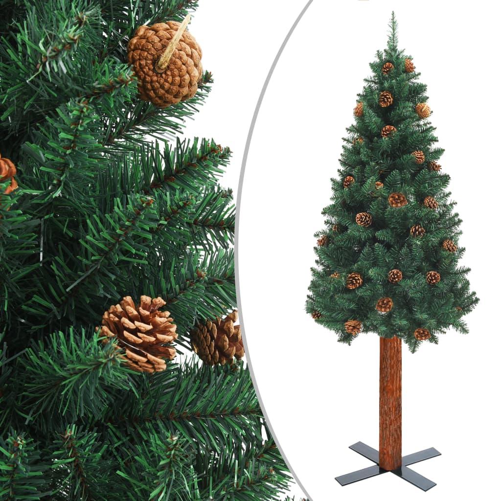 vidaXL Pom Crăciun artificial subțire lemn și conuri verde 180 cm PVC imagine vidaxl.ro