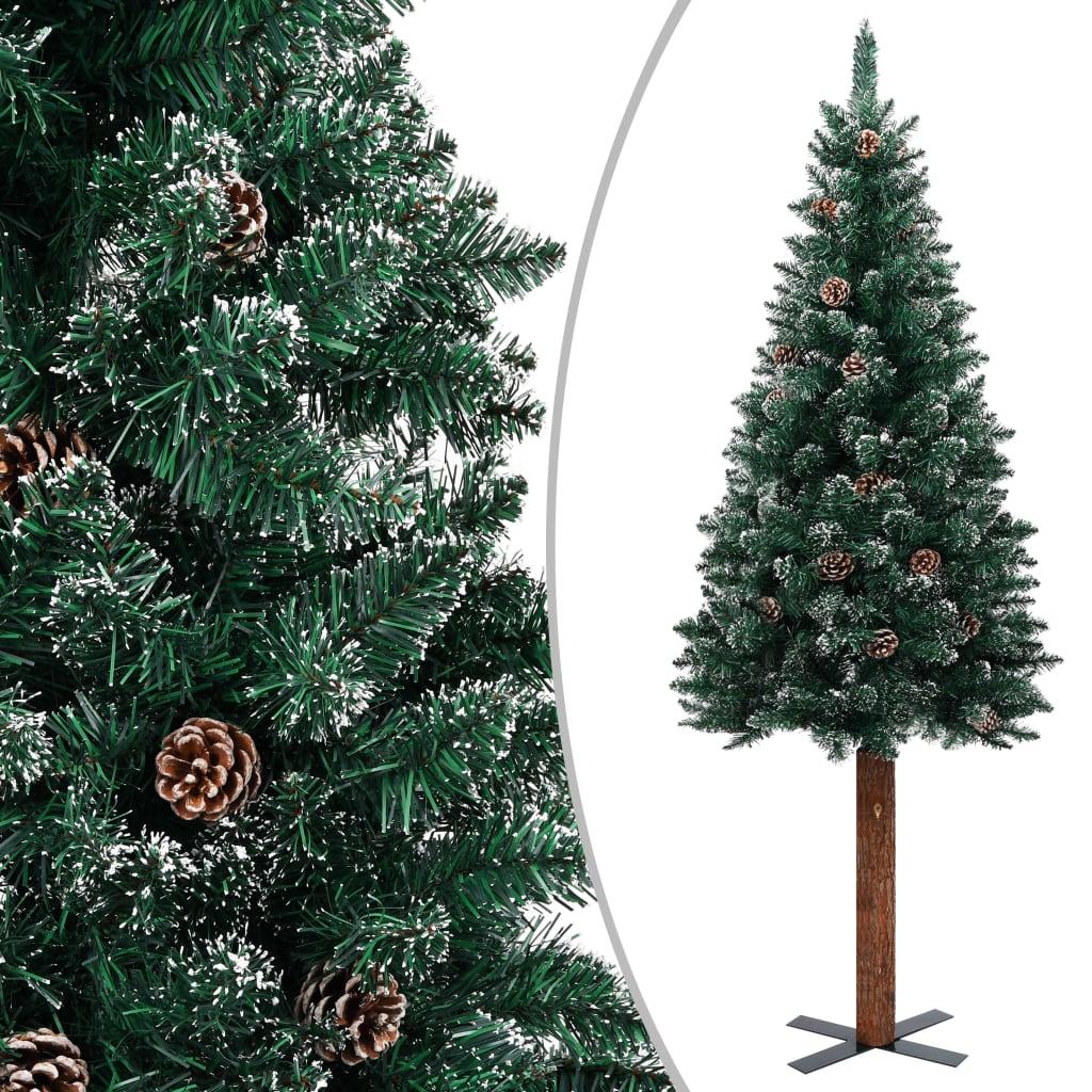vidaXL Pom Crăciun artificial subțire, lemn și zăpadă, verde, 210 cm vidaxl.ro