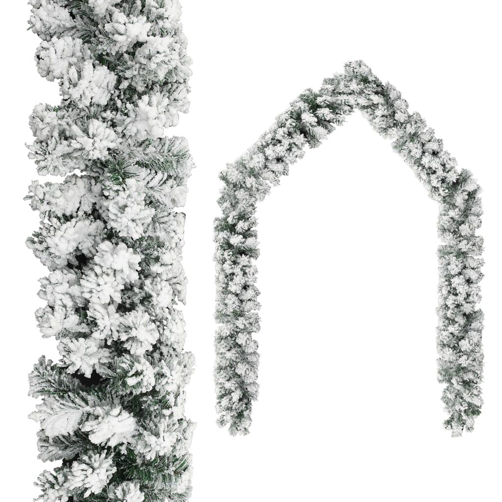 vidaXL Świąteczna girlanda pokryta śniegiem, zielona, 10 m, PVC