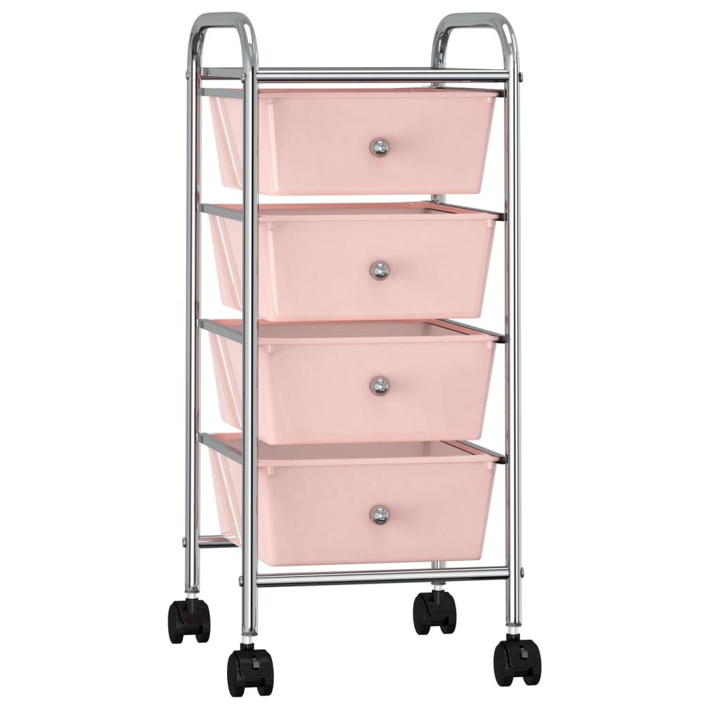 vidaXL Cărucior de depozitare mobil cu 4 sertare, roz, plastic vidaxl.ro