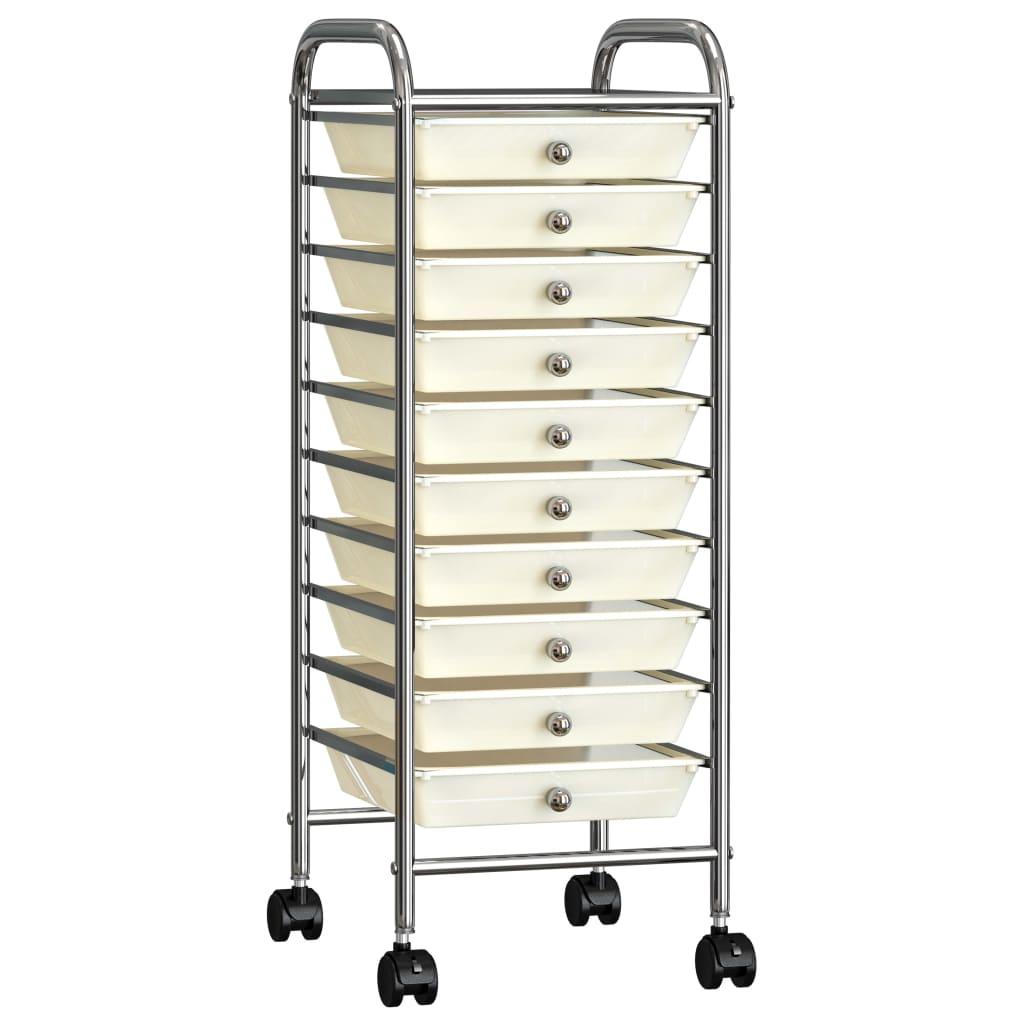 vidaXL Cărucior de depozitare mobil cu 10 sertare, alb, plastic vidaxl.ro