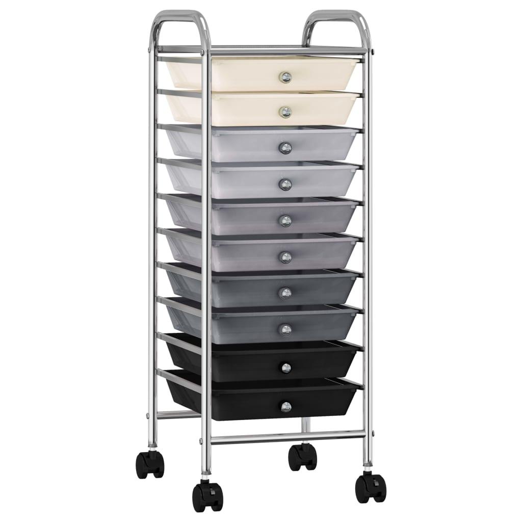 vidaXL Cărucior de depozitare mobil cu 10 sertare, ombre, plastic vidaxl.ro