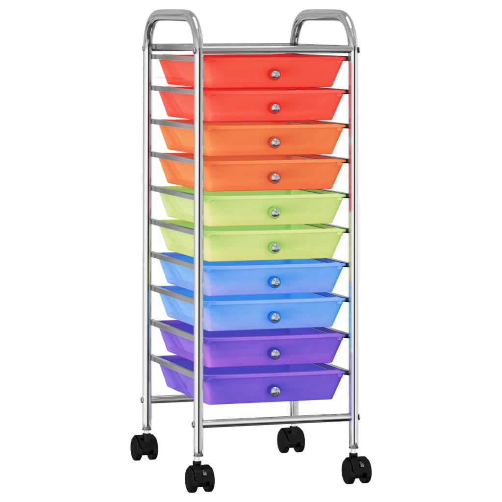 vidaXL Cărucior de depozitare mobil cu 10 sertare, multicolor, plastic vidaxl.ro