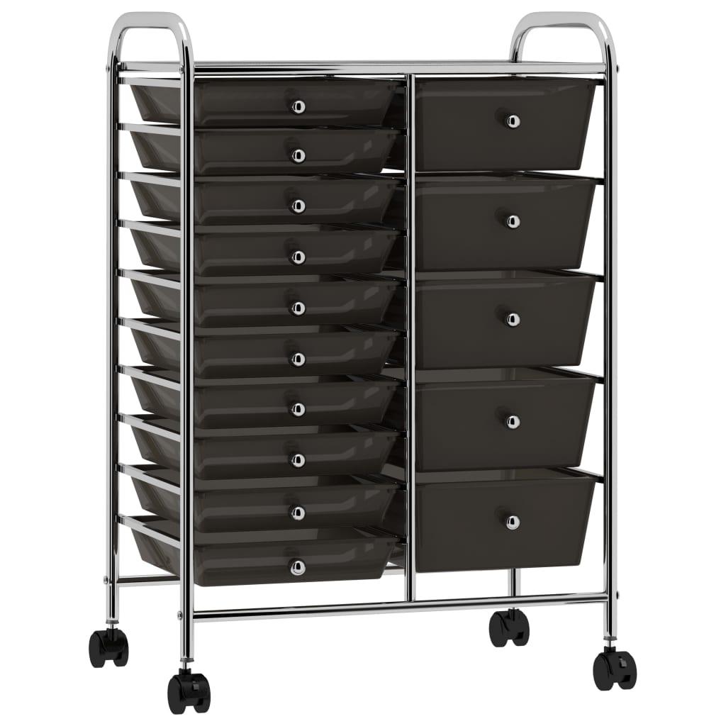 vidaXL Cărucior de depozitare mobil cu 15 sertare, negru, plastic vidaxl.ro