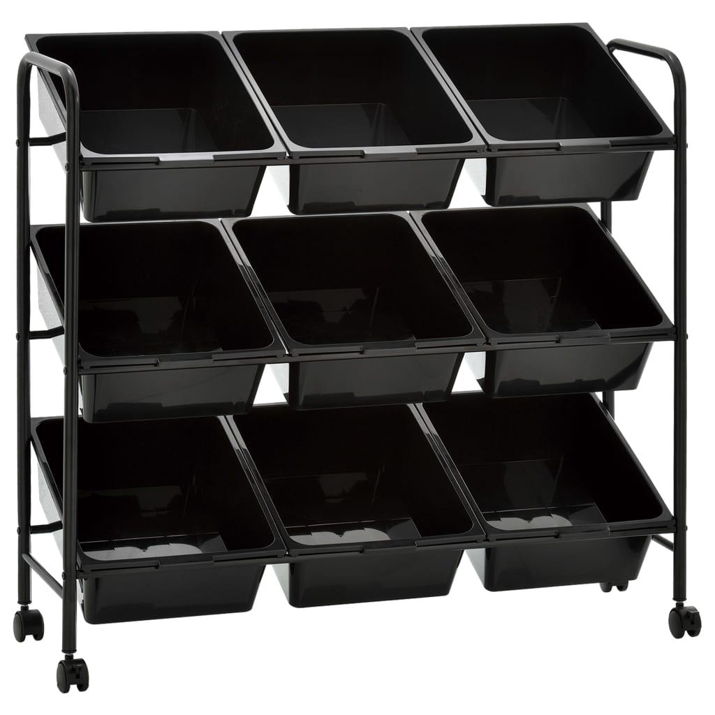 vidaXL Cărucior depozitare jucării cu 9 coșuri, negru, plastic vidaxl.ro