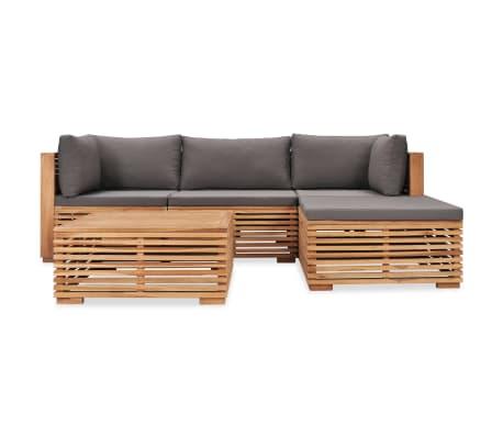 vidaXL 5 Piece Garden Lounge Set with Cushions Solid Teak Wood