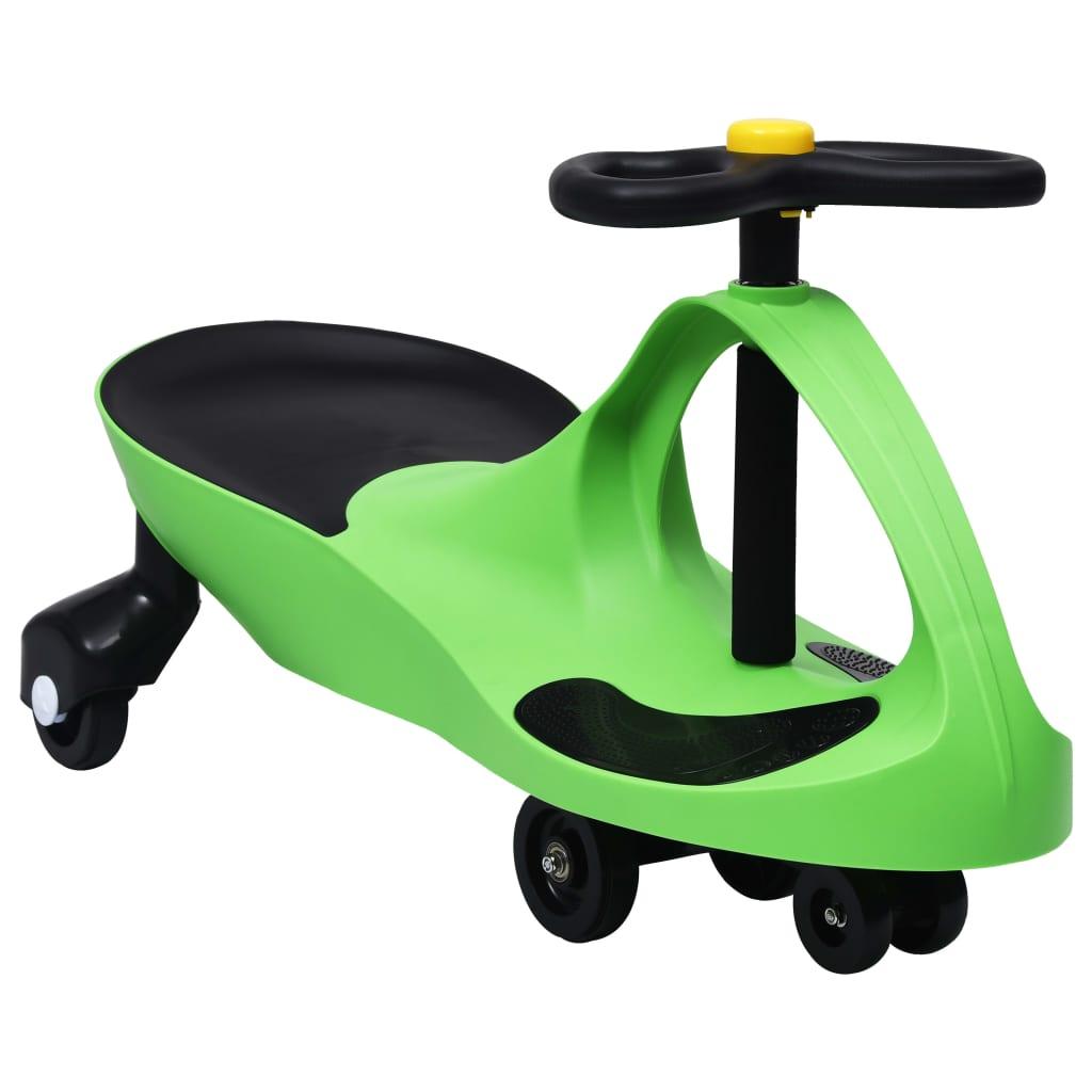 vidaXL Mașinuță tip balansoar fără pedale cu claxon, verde vidaxl.ro