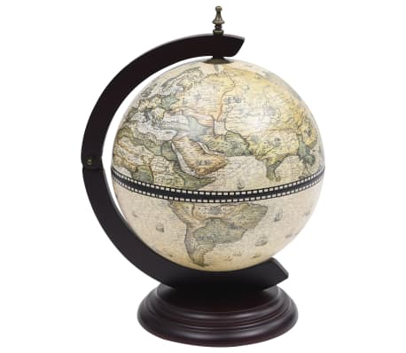 Tabletop Globe Bar Wine Stand Eucalyptus Wood Green