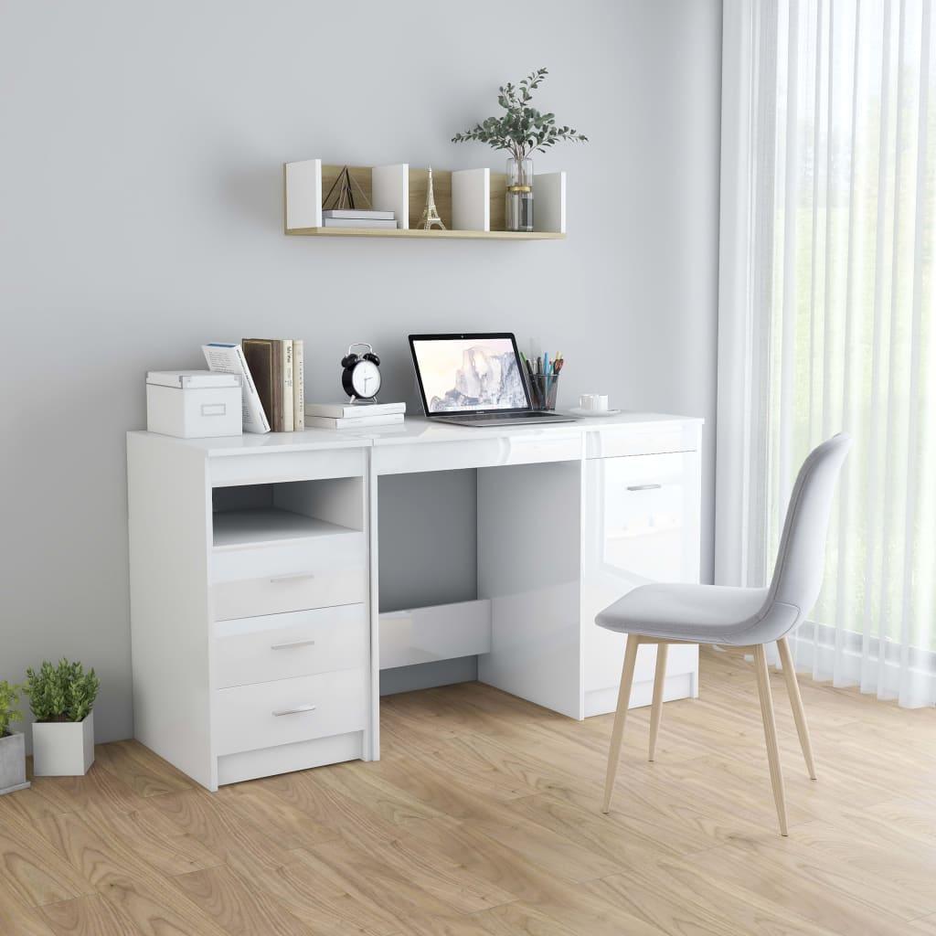 vidaXL Schreibtisch Hochglanz-Weiß 140 x 50 x 76 cm Spanplatte