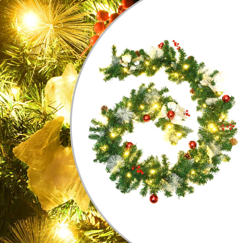 vidaXL Ghirlandă de Crăciun cu becuri LED, verde, 2,7 m, PVC imagine vidaxl.ro