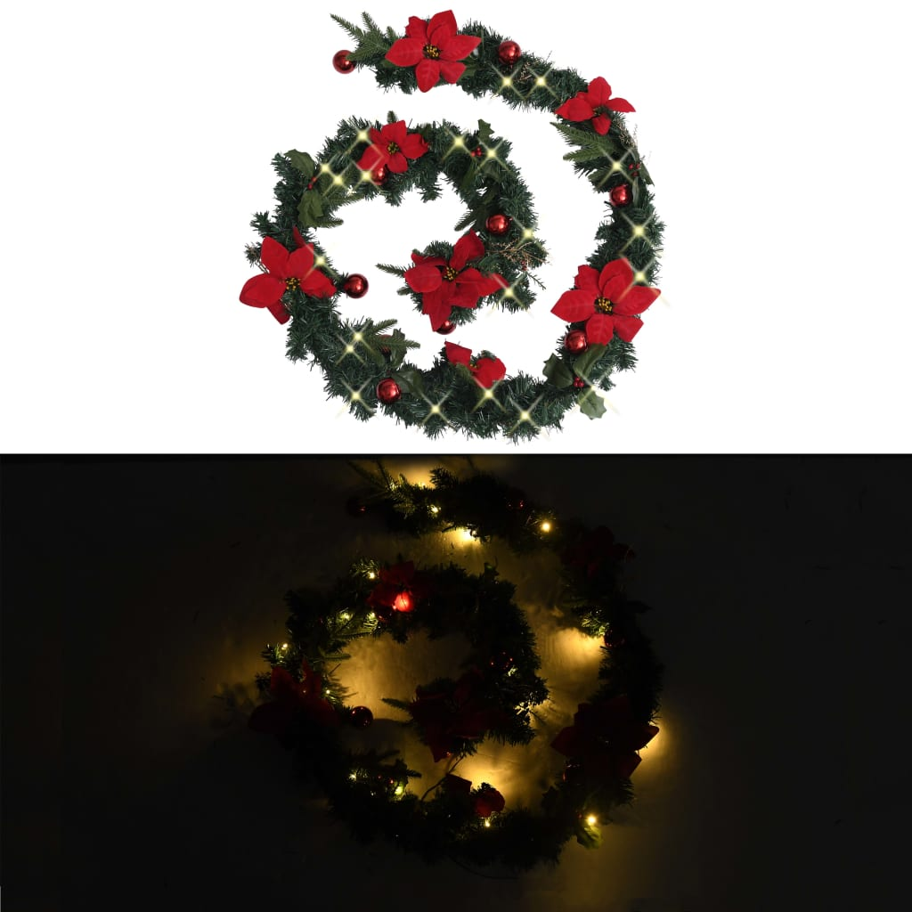 vidaXL Świąteczna girlanda z lampkami LED, zielona, 2,7 m, PVC