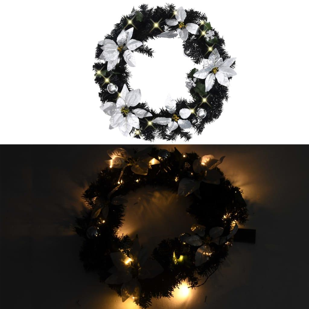 vidaXL Kerstkrans met LED-lampjes 60 cm PVC zwart